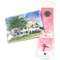 2006 Canada Tri-coloured Pink Ribbon 25-cent with Bookmark (coin contains some green residue) & 2008