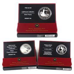 3x 2005 Canada Fine Silver Coins - $20 Mingan Archipelago National Park, $20 Toronto Island Lighthou