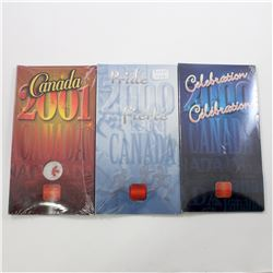 2000 Celebration, 2000 Pride & 2001 Spirit Canada Day Coloured 25-cents sealed in all original mint