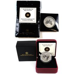 2011 & 2012 Canada $10 Maple Leaf Forever Fine Silver Coins (2012 sleeve is worn, coin not in origin