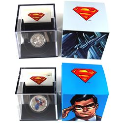 2013 Canada $15 Modern Day Superman 1/2oz & 2013 $10 Vintage Superman 1/4oz Fine Silver Coins. 2pcs