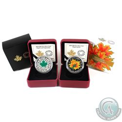 2014 Canada $20 Maple Leaf Impression & 2014 $20 Glow-in-the-Dark Maple Leaves Fine Silver Coins (Ma