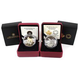 2014 Canada $20 Iconic Polar Bear & 2017 $20 Glistening North - Polar Bear Fine Silver Coins. 2pcs (