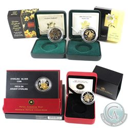 2003, 2004, 2005 & 2007 Canada 50-cent Canadian Floral Sterling Silver Collection - 2003 Golden Daff