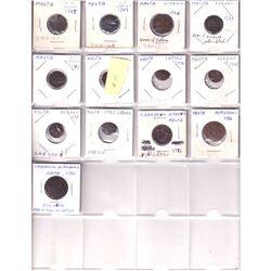 13x 1703-1986 Malta 1 Grano, 5 Grani, & 10 Grani coins. One Grano dates include: 1703, 1709, 1726, 1