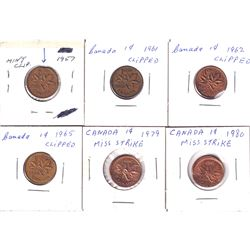 Canada 1957-1980 Clipped & Mistrike 1-cents. Dates include 1957, 1961, 1962 & 1965 clipped 1979 & 19
