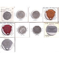 9x Trade Tokens: 23 Market Street Purity Milk Products, Elm Avenue Dairy Elmsdale N.S., Fairview Far