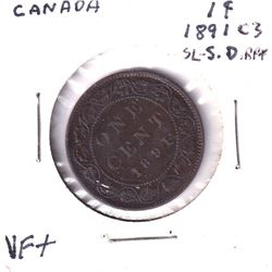 1891-C3 Canada 1-cent Small Date, Small Leaves VF
