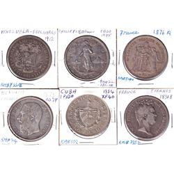 1831B France 5 Francs, 1873 Belgium 5 Francs, 1876A France 5 Francs, 1905 Philippines one Pesos, 191