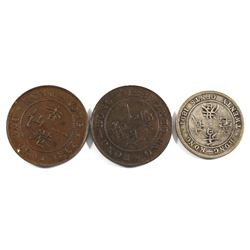 1881, 1865 & 1891 Hong Kong 1-cent & 2-cent In EF condition: 1881 1-cent EF, 1865 1-cent EF & 1891 2