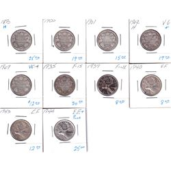 10x Canada Silver 25-cents dated between 1890-1944. Dates include: 1890, 1900, 1901, 1902, 1907, 193