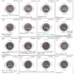 16x Canada Error 5-cents from 1957-2007. 16pcs