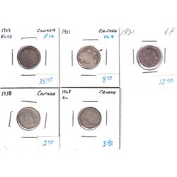5x Canada 10-cents: 1909 Broad Leaves, 1911, 1931, 1938 & 1968. 5pcs