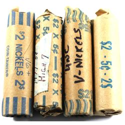 4x 1977-2005 Canada 5-cent Rolls: 1948, 1977 High 7, 1996 Near 6, and 2005 Victory. 4pcs