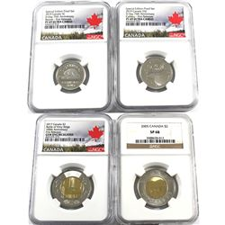 Estate Lot of 4x Canada 5c,25c & Two Dollar NGC Certified: 2019 5-cent D-Day 75th Anniversary PF-69,