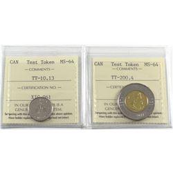 Test Token Canada TT-10.13 & TT-200.4 ICCS Certified MS-64. 2pcs
