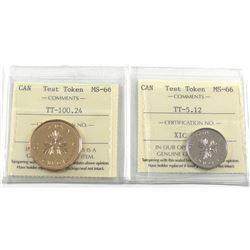 Test Token Canada TT-5.12 & TT-100.24 ICCS Certified MS-66. 2pcs