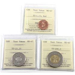 Test Token Canada ICCS Certified: TT-1.13 MS-67, TT-25.25 MS-67 & TT-200.3 MS67. 3pcs