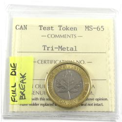 TRI-METAL Security Test Token ICCS Certified MS-65 full die break (removed from the 2018 R&D set)