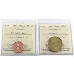 Test Token Canada TT-1.13 ICCS Certified MS-67 & Test Token TT-100.25 ICCS Certified MS-65. 2pcs