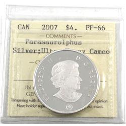 2007 Canada $4 Dinosaur Parasaurolophus ICCS Certified PF-66 Ultra Heavy Cameo (TAX Exempt)