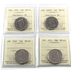 4x Canada 50-cents: 1995 MS-67 NBU, 2005P MS-67 NBU, 2007 MS-65 & 2015 MS-65. 4pcs