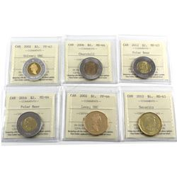 6x Canada Loon Dollar & Two Dollar ICCS Certified: 2002 $1 PF-66, 2012 Security $1 MS-63, 2002 $2 PF