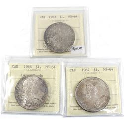 Group Lot 3x Silver $1, 1963, 1966 Lg Bds, & 1967. All coins ICCS Certified MS-64. All coins light t