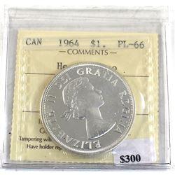 Silver $1 1964 P.E.I Commemorative ICCS Certified PL-66 Heavy Cameo! Full white mirror coin!