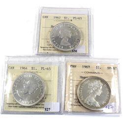 Group Lot 3x Silver $1, 1962 PL-65 HC, 1964 PL-65, & 1967 SP-62 HC. All coins ICCS Certified. 3pcs