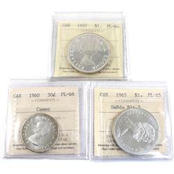 Group Lot Canada Silver Coins: 1957 $1 PL-64, 1965 SmBds Blt 5 $1 PL-65, & 1960 50-cent PL-66 Cameo.