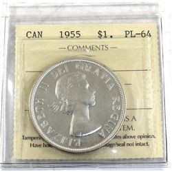 Silver $1 1955 ICCS Certified PL-64. Bright coin with soft cameo accents.