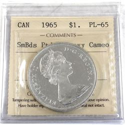 Silver $1 1965 SmBds Ptd 5 ICCS Certified PL-65 Heavy Cameo!