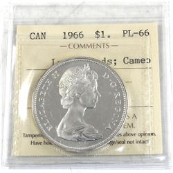 Silver $1 1966 Large Beads ICCS Certified PL-66 Cameo. Blast White!