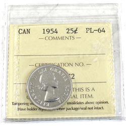 25-cent 1954 ICCS Certified PL-64!