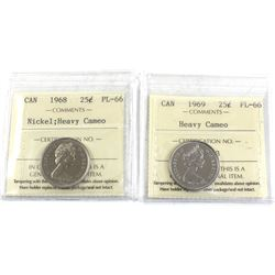 25-cent 1968 Nickel & 1969 ICCS Certified PL-66 Heavy Cameo. 2pcs