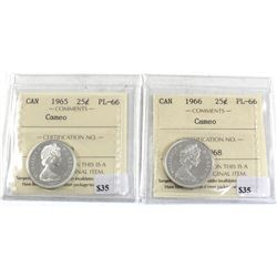 25-cent 1965 & 1966 ICCS Certified PL-66 Cameo! Bright attractive coins!  2pcs