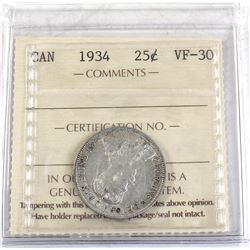 25-cent 1934 ICCS Certified VF-30