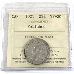 25-cent 1921 ICCS Certified VF-20 (polished) *Key Date*
