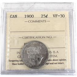 25-cent 1900 ICCS Certified VF-30. Bright coin throughout.