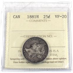 25-cent 1881H ICCS Certified VF-20.
