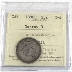 25-cent 1880H Narrow 0, ICCS Certified G-4
