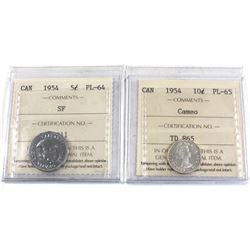 1954 10-cent PL-65 Cameo & 1954 SF 5-cent PL-64 Both ICCS Certified. 2pcs