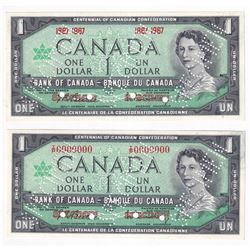 Set of 2 Matching 1967 SPECIMEN $1 Notes (Set #105) BC-45aS & BC-45bS *RARE*