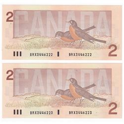 Set of 2x 1986 $2 Sequential BRX Replacement Notes: BC-55cA Bonin-Theissen S/N: BRX3446222/223. Both