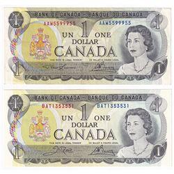 2x 1973 $1 Radar Banknotes, Lawson-Bouey AAW5599955 Circ. & Crow-Bouey BAT1353531 UNC.  2pcs