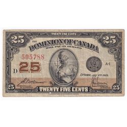 1923 DC-24c Dominion of Canada 25-cent 'Shinplaster' McCavour-Saunders S/N: 505788.