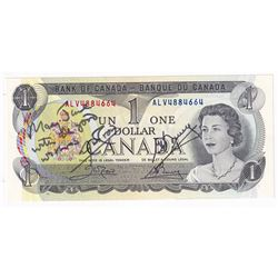 """1973 $1 BC-46b Crow-Bouey ALV4884664. Personally Signed by both Deputy & Governor to """"Mary Jane"""" Ver"""