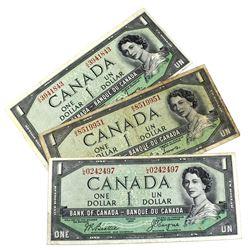 Lot of 3x 1954 Devil's Face $1 Bills BC-29a in Circ. Lot includes A/A3941843, B/A8519951 & L/A024249