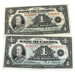 Lot of 2x 1935 $1 Notes: BC-1 & BC-2 S/N A7728620 Fine & B2145271 VF. 2pcs